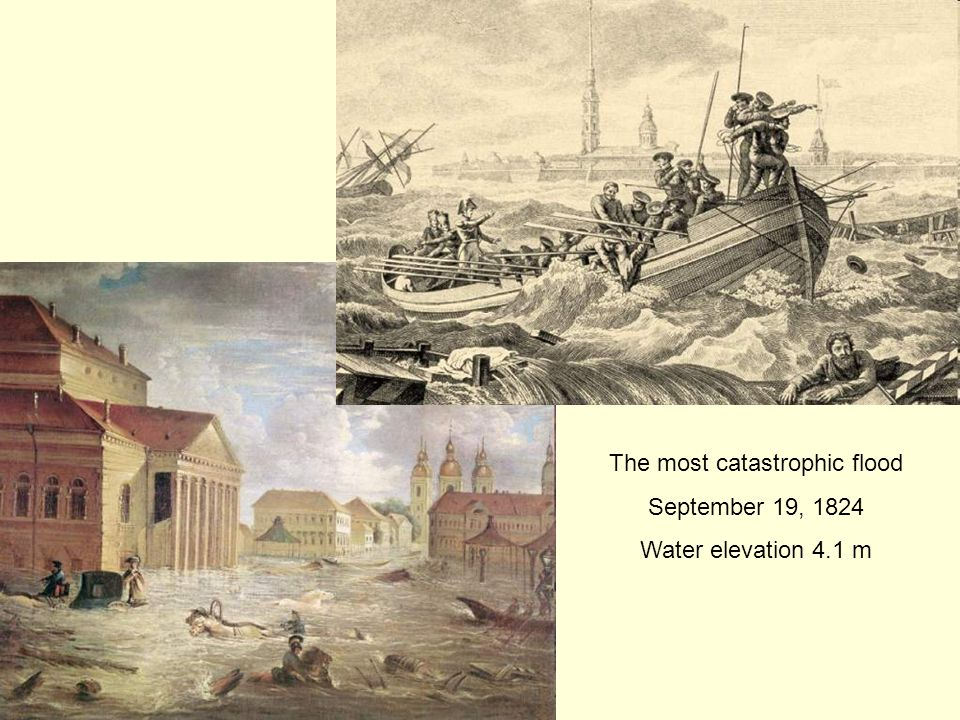 The most catastrophic flood September 19, 1824 Water elevation 4.1 m