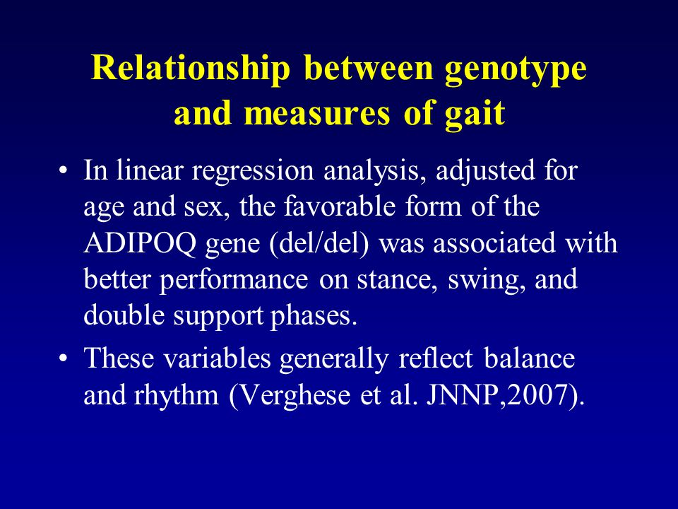 Relationship between genotype and measures of gait In linear regression analysis, adjusted for age and sex, the favorable form of the ADIPOQ gene (del