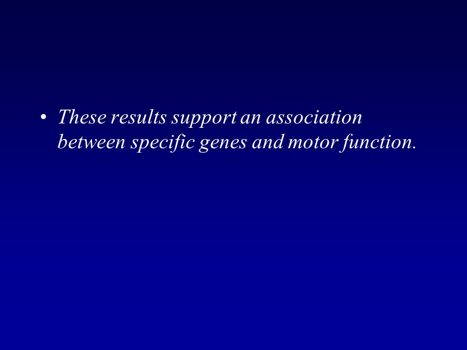 These results support an association between specific genes and motor function.