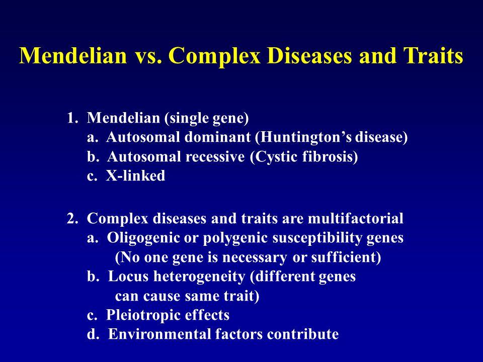 Mendelian vs. Complex Diseases and Traits 1. Mendelian (single gene) a. Autosomal dominant (Huntingtons disease) b. Autosomal recessive (Cystic fibros