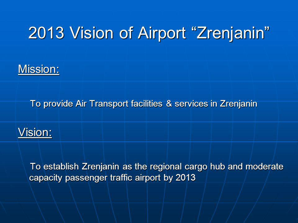 2013 Vision of Airport Zrenjanin Mission: To provide Air Transport facilities & services in Zrenjanin To provide Air Transport facilities & services i