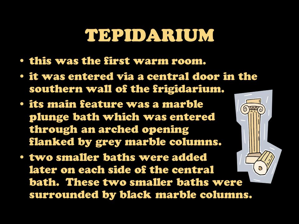 TEPIDARIUM this was the first warm room. it was entered via a central door in the southern wall of the frigidarium. its main feature was a marble plun