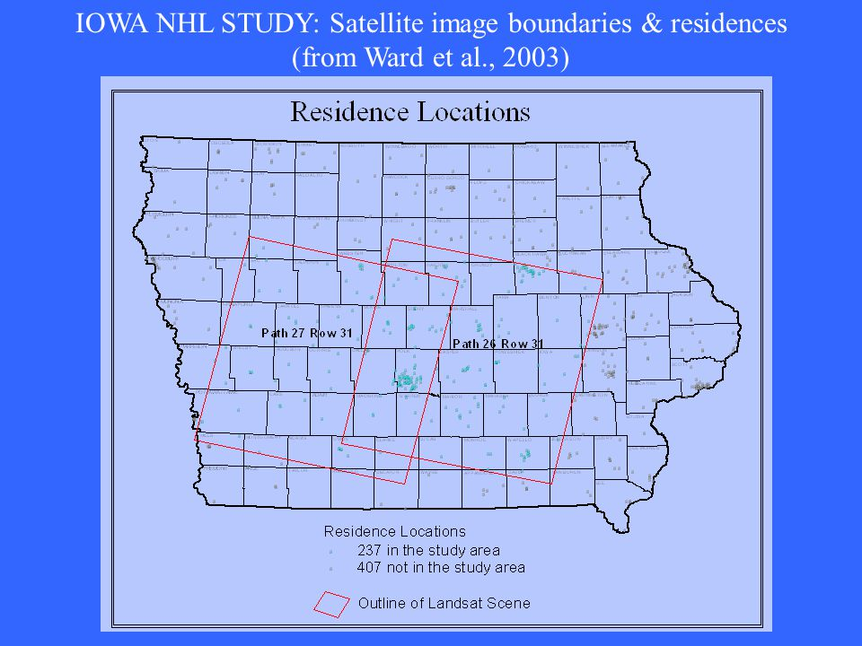 IOWA NHL STUDY: Satellite image boundaries & residences (from Ward et al., 2003)