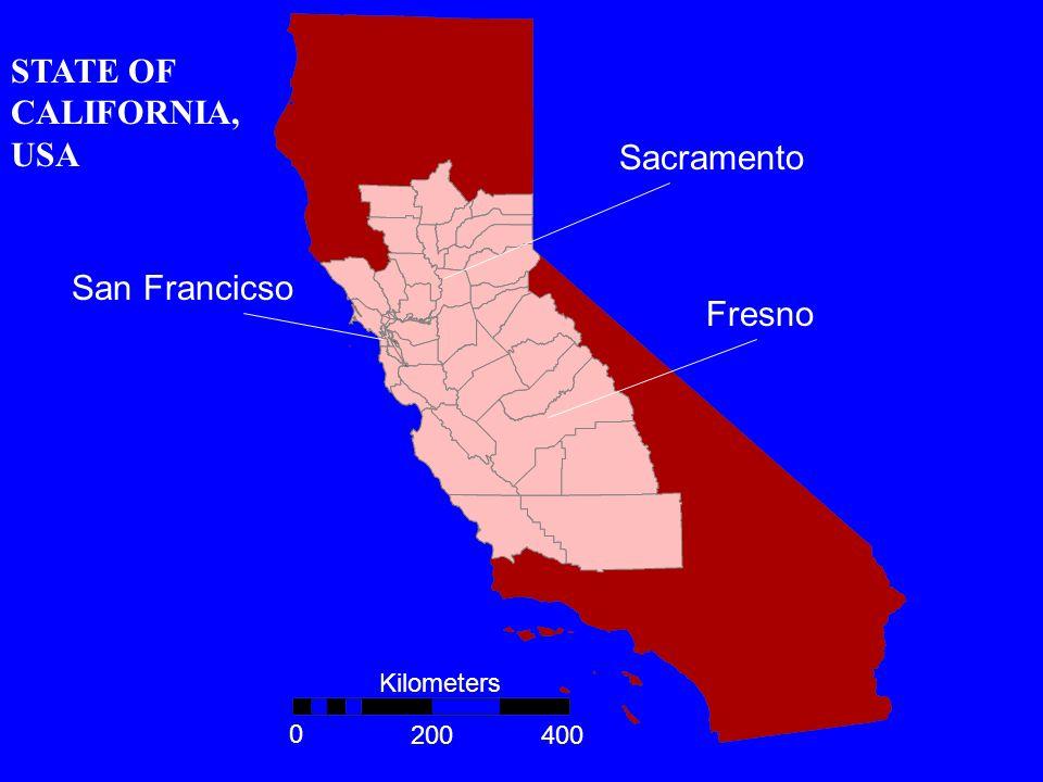 San Francicso Sacramento Fresno Kilometers 0 400200 STATE OF CALIFORNIA, USA