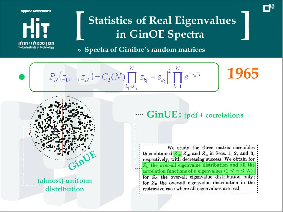 1965 GinUE (almost) uniform distribution GinUE : jpdf + correlations Applied Mathematics 30 Statistics of Real Eigenvalues in GinOE Spectra [ ] » Spectra of Ginibres random matrices