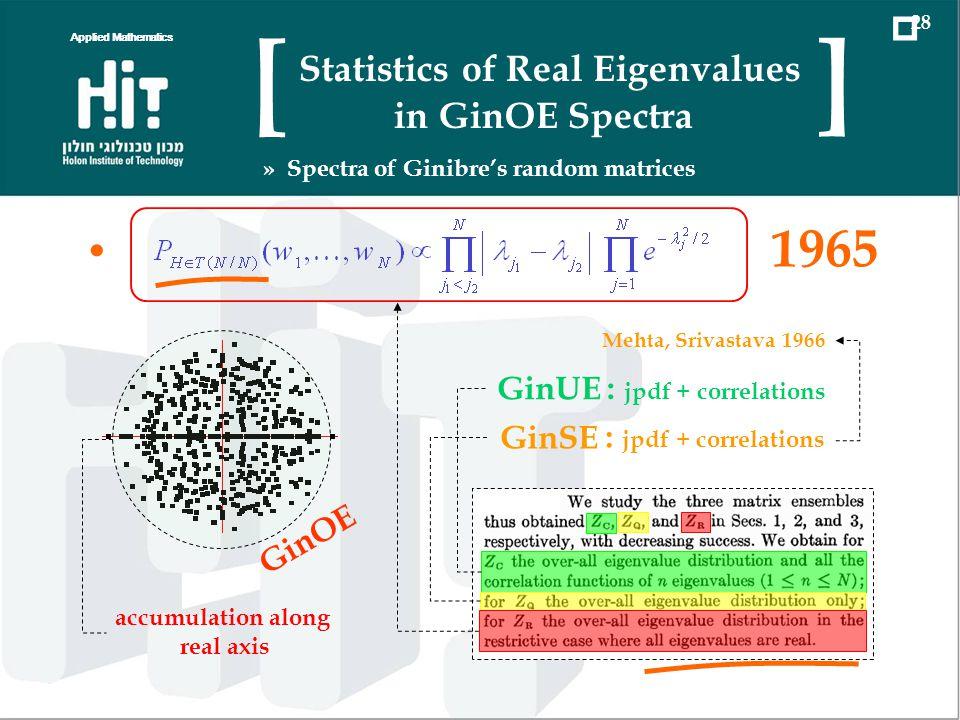 1965 GinUE : jpdf + correlations GinSE : jpdf + correlations Mehta, Srivastava 1966 GinOE accumulation along real axis Applied Mathematics 28 Statisti