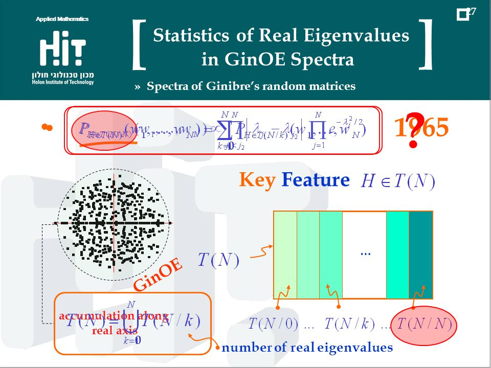 1965 GinOE accumulation along real axis … Key Feature 0 number of real eigenvalues 0 ? Applied Mathematics 27 Statistics of Real Eigenvalues in GinOE
