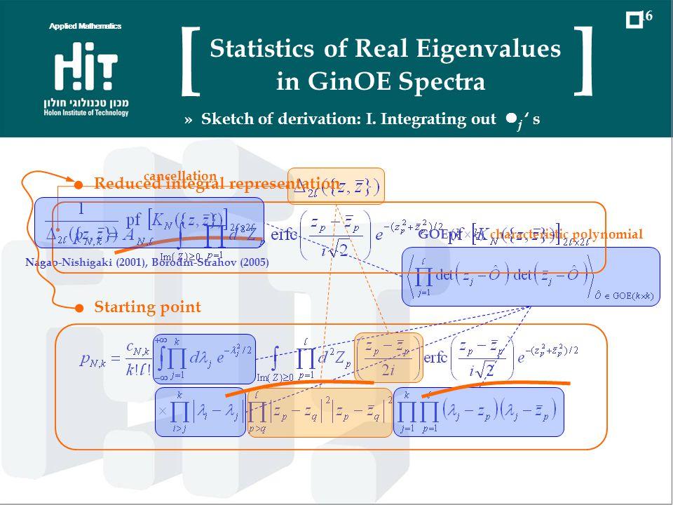 Starting point GOE characteristic polynomial Nagao-Nishigaki (2001), Borodin-Strahov (2005) cancellation Reduced integral representation Applied Mathe