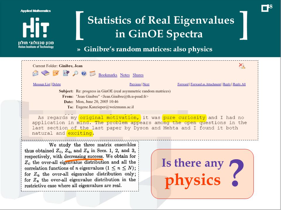 ? Is there any physics Applied Mathematics 38 Statistics of Real Eigenvalues in GinOE Spectra [ ] » Ginibres random matrices: also physics