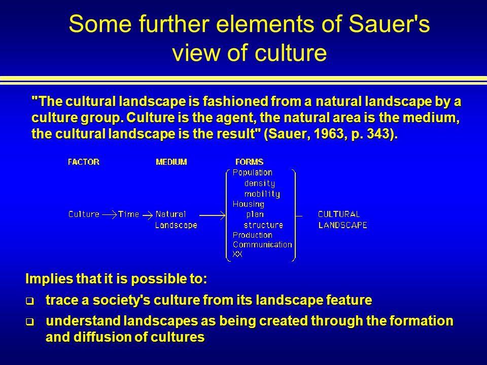 Some further elements of Sauer s view of culture The cultural landscape is fashioned from a natural landscape by a culture group.