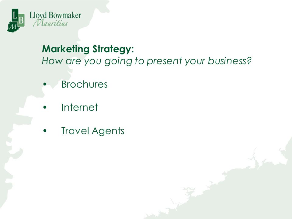 Marketing Strategy: How are you going to present your business? Brochures Internet Travel Agents