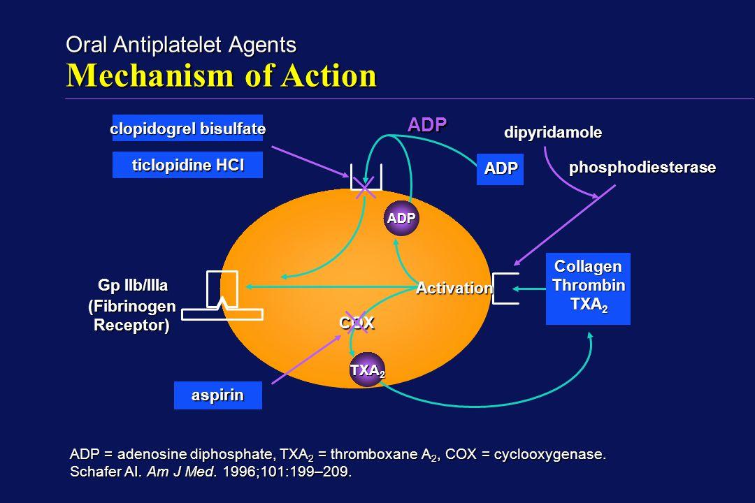 Oral Antiplatelet Agents Mechanism of Action Collagen Thrombin TXA 2 ADP (FibrinogenReceptor) ADP = adenosine diphosphate, TXA 2 = thromboxane A 2, CO