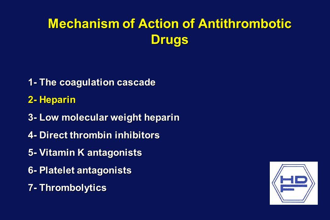 Mechanism of Action of Antithrombotic Drugs 1- The coagulation cascade 2- Heparin 3- Low molecular weight heparin 4- Direct thrombin inhibitors 5- Vit