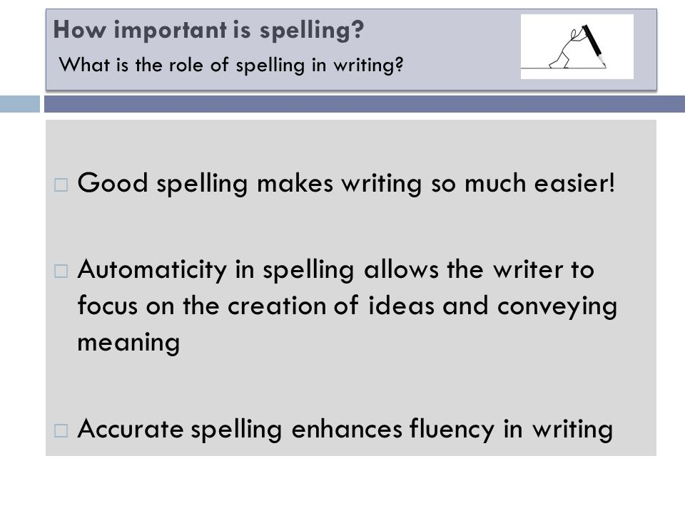 How important is spelling. Good spelling makes writing so much easier.