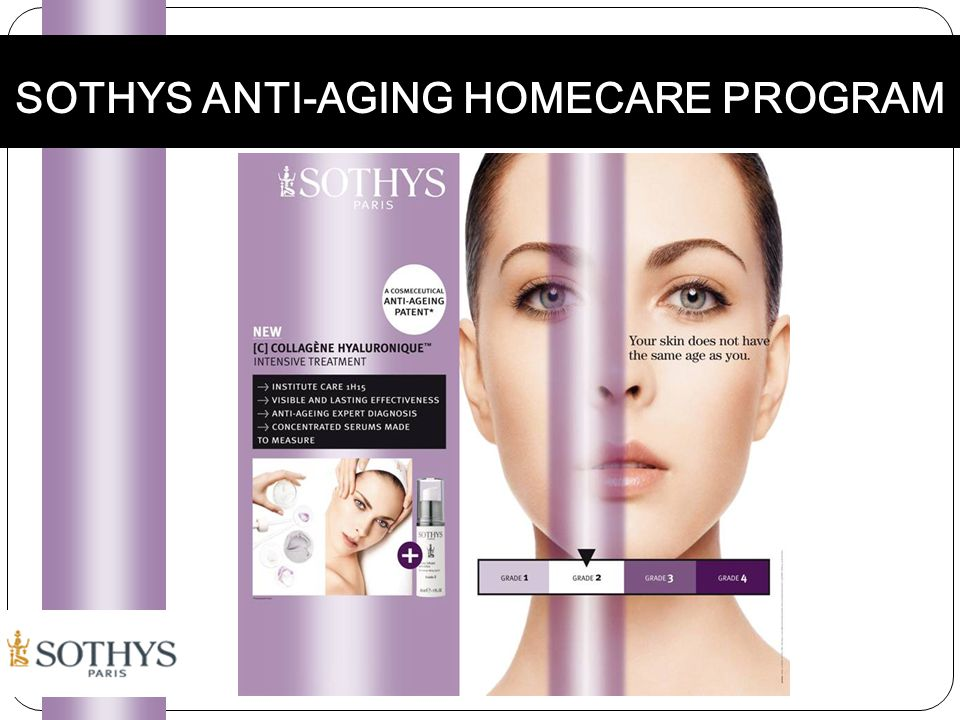 Sothys Anti-aging Program INTENSIVE SERUMS First wrinkles Revitalizing serum To revitalize Anti-wrinkle Lifting serum To fill wrinkles Anti-wrinkle Restructuring serum To re-structure Replenishing anti-aging serum To reconstruct ACTIVE CREAMS Cream Smooth Expression Lines Cream & Comfort cream Fewer wrinkles Maintain the oval Cream & Comfort cream Increase elasticity and firmness Cream Reveal the essence of a younger skin ANTI-AGING DUO MASK SHAPING NECK CARE Grade 1 PROFESSIONAL : COLLAGENE HYALURONIQUE INTENSIVE TREATMENT Grade 2Grade 3Grade 4