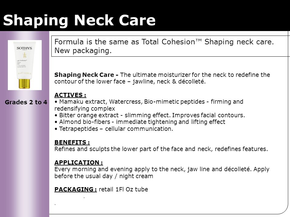 Shaping Neck Care Shaping Neck Care - The ultimate moisturizer for the neck to redefine the contour of the lower face – jawline, neck & décolleté. ACT