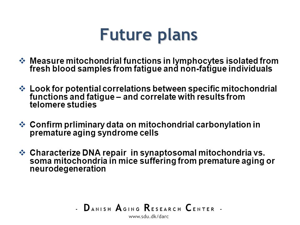 - D A N I S H A G I N G R E S E A R C H C E N T E R - www.sdu.dk/darc Future plans Measure mitochondrial functions in lymphocytes isolated from fresh blood samples from fatigue and non-fatigue individuals Look for potential correlations between specific mitochondrial functions and fatigue – and correlate with results from telomere studies Confirm prliminary data on mitochondrial carbonylation in premature aging syndrome cells Characterize DNA repair in synaptosomal mitochondria vs.