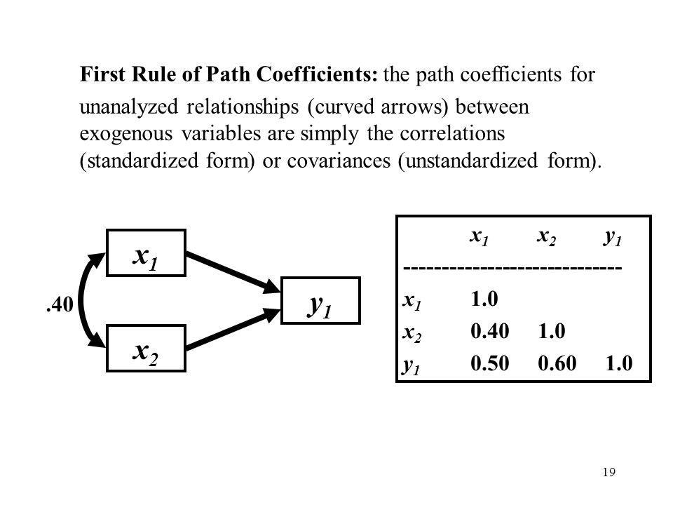 19 First Rule of Path Coefficients: the path coefficients for unanalyzed relationships (curved arrows) between exogenous variables are simply the corr