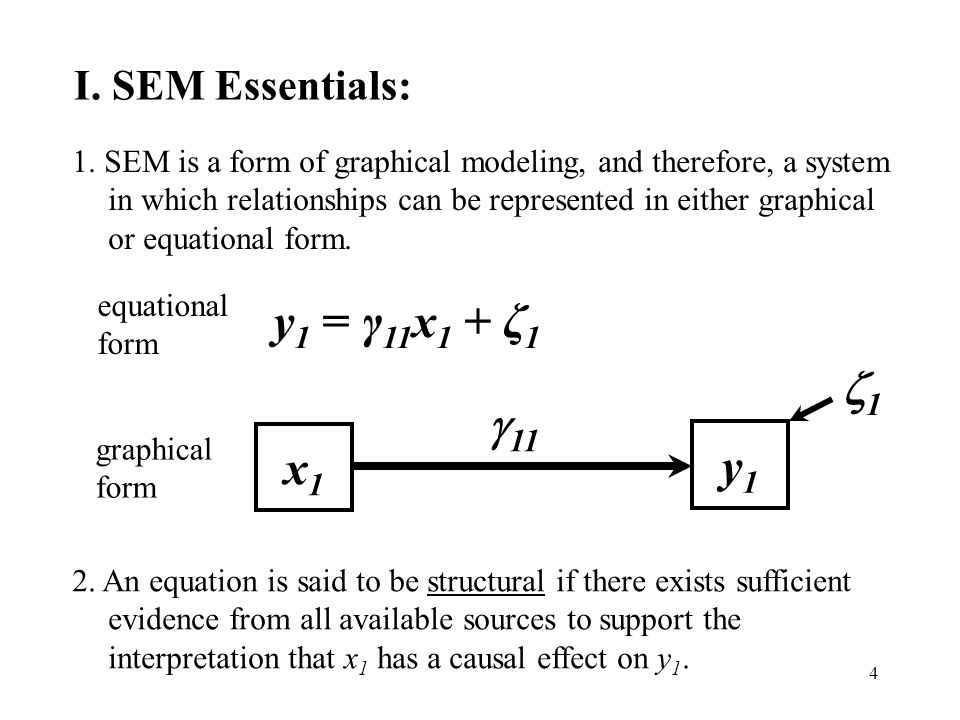 4 I. SEM Essentials: 1. SEM is a form of graphical modeling, and therefore, a system in which relationships can be represented in either graphical or