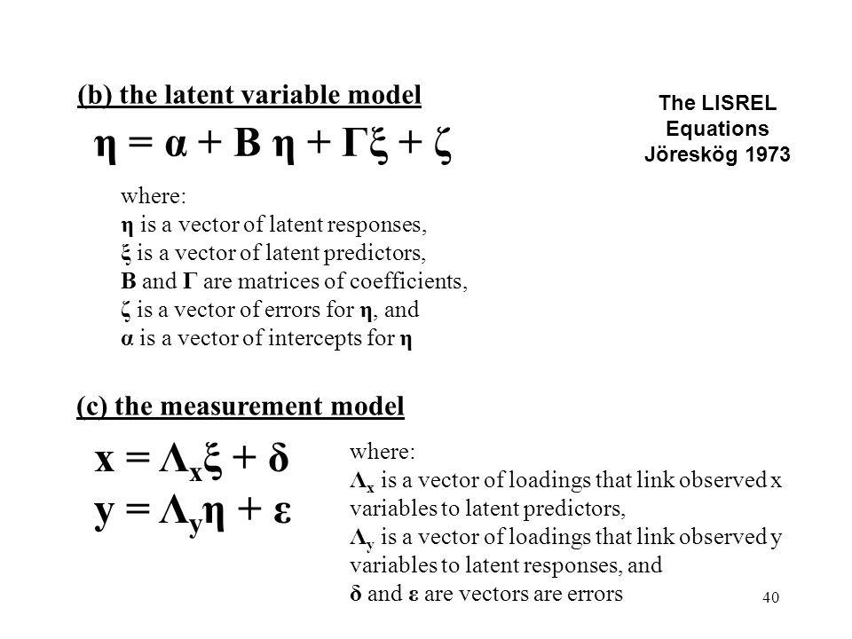 40 The LISREL Equations Jöreskög 1973 (b) the latent variable model η = α + Β η + Γξ + ζ x = Λ x ξ + δ y = Λ y η + ε where: η is a vector of latent responses, ξ is a vector of latent predictors, Β and Γ are matrices of coefficients, ζ is a vector of errors for η, and α is a vector of intercepts for η (c) the measurement model where: Λ x is a vector of loadings that link observed x variables to latent predictors, Λ y is a vector of loadings that link observed y variables to latent responses, and δ and ε are vectors are errors