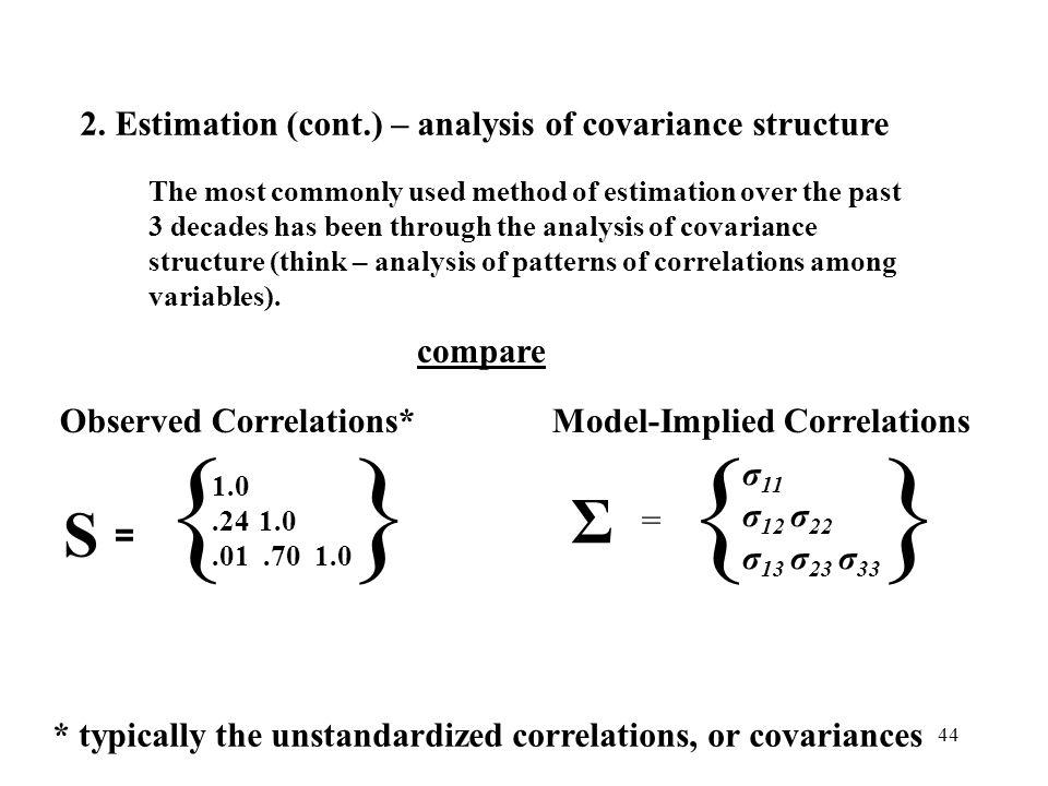 44 Σ = { σ 11 σ 12 σ 22 σ 13 σ 23 σ 33 } Model-Implied CorrelationsObserved Correlations* { 1.0.24 1.0.01.70 1.0 } S = * typically the unstandardized correlations, or covariances 2.
