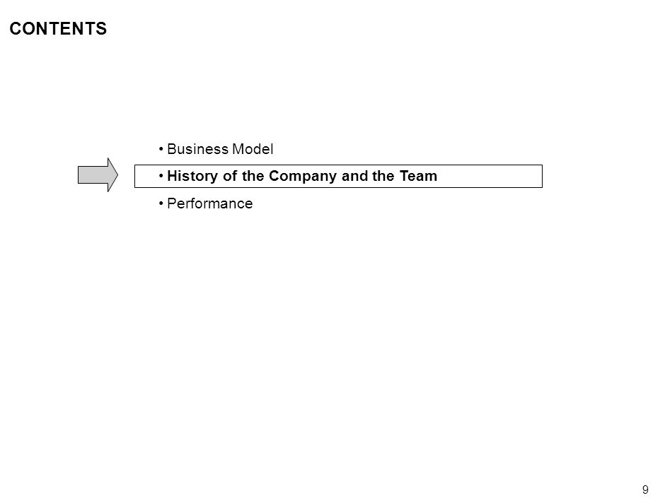 9 CONTENTS Business Model History of the Company and the Team Performance