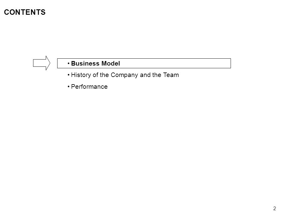 2 CONTENTS Business Model History of the Company and the Team Performance