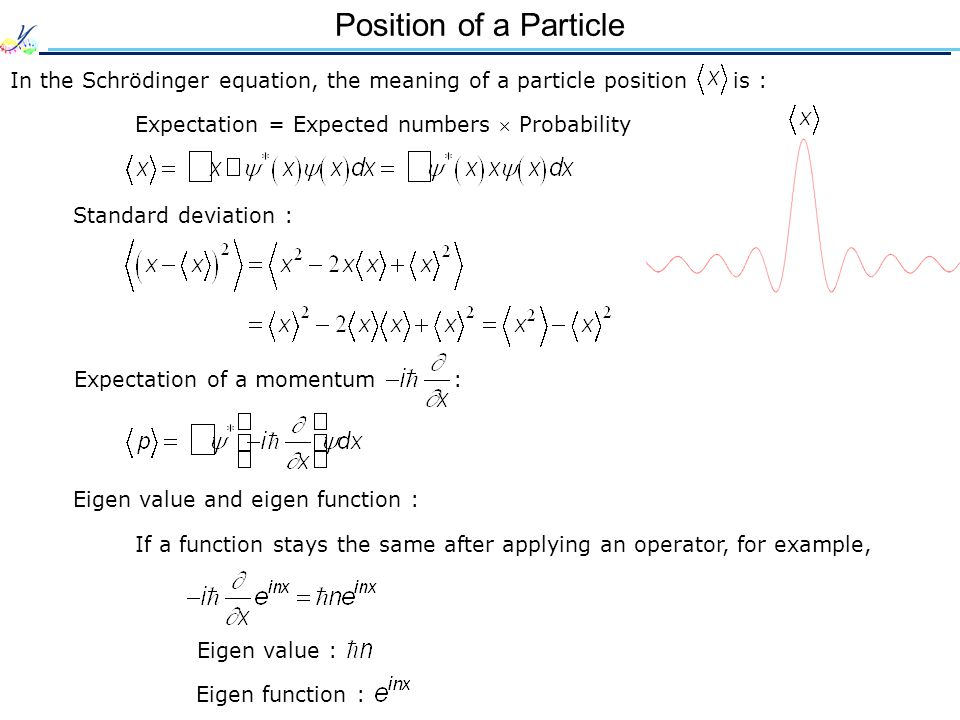 Position of a Particle In the Schrödinger equation, the meaning of a particle position is : Expectation = Expected numbers Probability Standard deviat