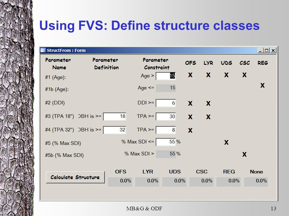 MB&G & ODF13 Using FVS: Define structure classes
