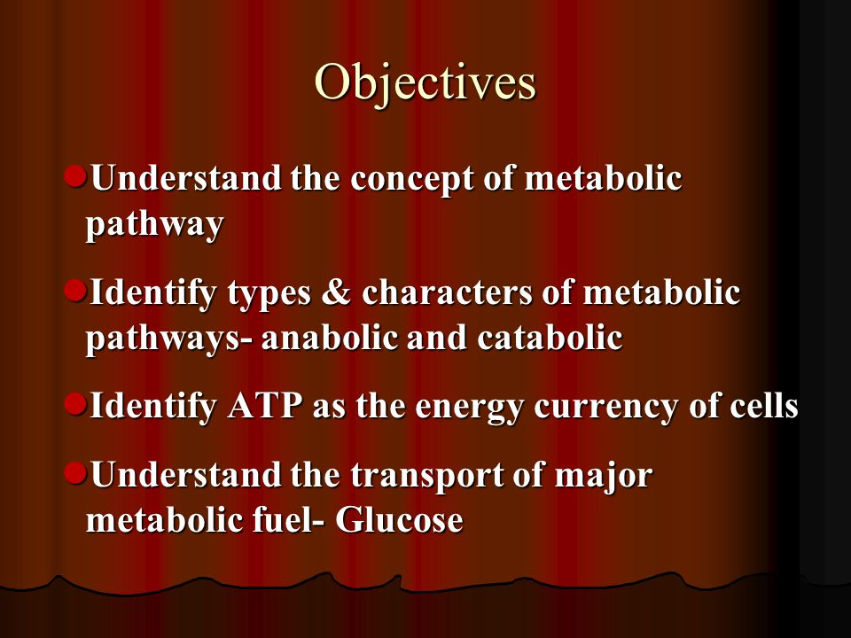 Objectives Understand the concept of metabolic pathway Understand the concept of metabolic pathway Identify types & characters of metabolic pathways-