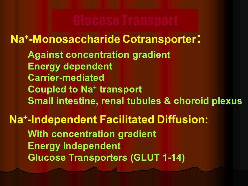Na + -Monosaccharide Cotransporter : Against concentration gradient Energy dependent Carrier-mediated Coupled to Na + transport Small intestine, renal