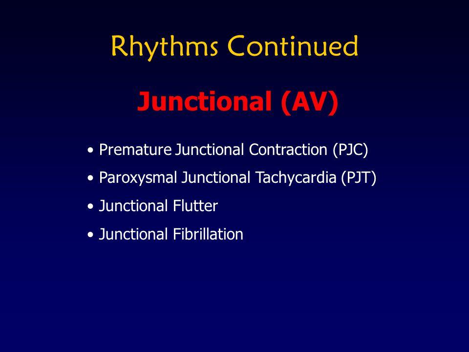 Rhythms Continued Premature Junctional Contraction (PJC) Paroxysmal Junctional Tachycardia (PJT) Junctional Flutter Junctional Fibrillation Junctional