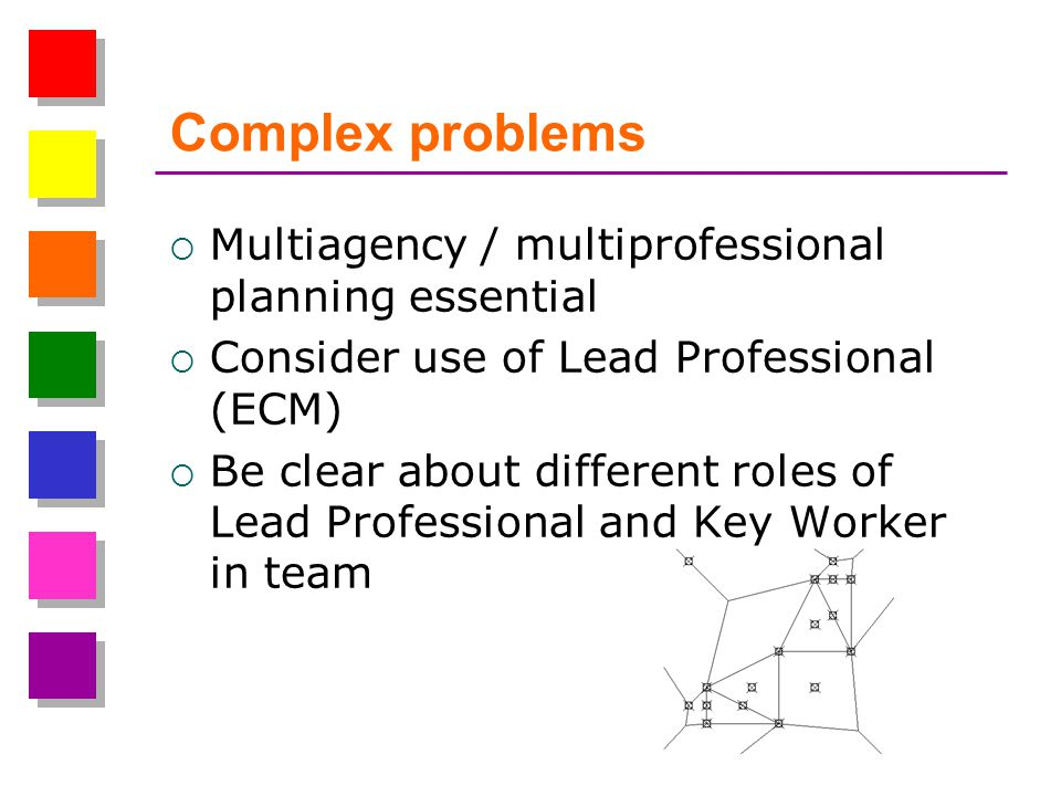 Complex problems Multiagency / multiprofessional planning essential Consider use of Lead Professional (ECM) Be clear about different roles of Lead Professional and Key Worker in team
