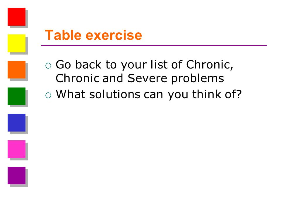Table exercise Go back to your list of Chronic, Chronic and Severe problems What solutions can you think of