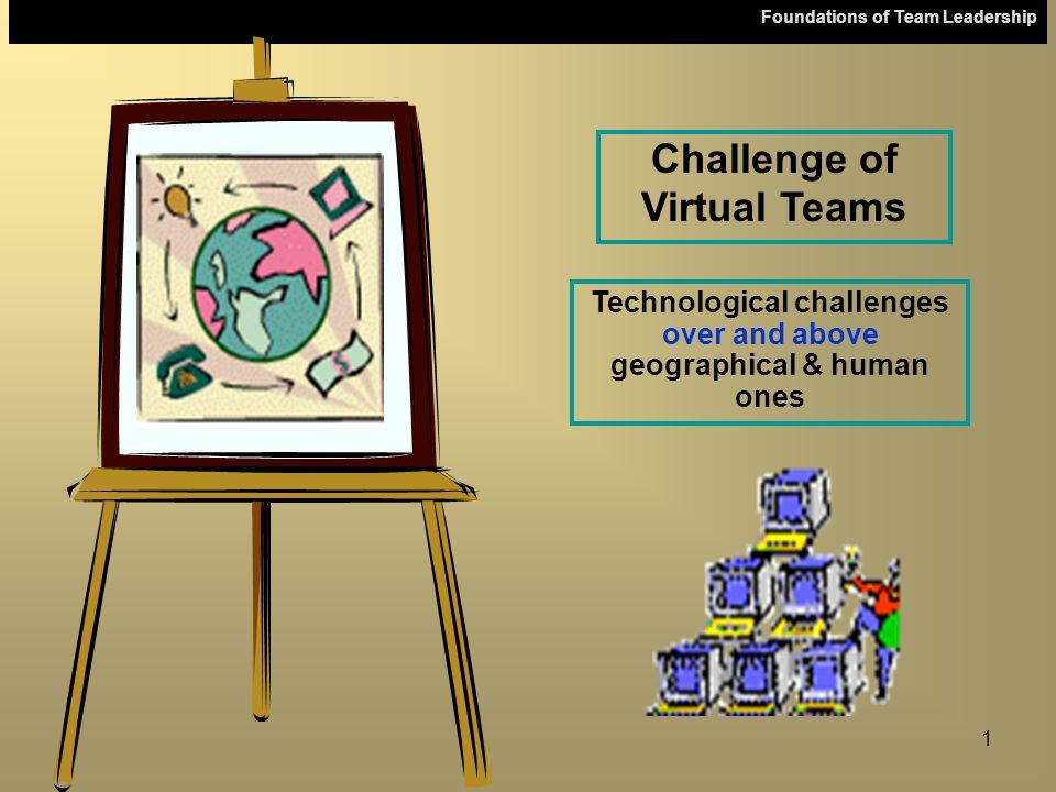 Foundations of Team Leadership 1 Challenge of Virtual Teams Technological challenges over and above geographical & human ones