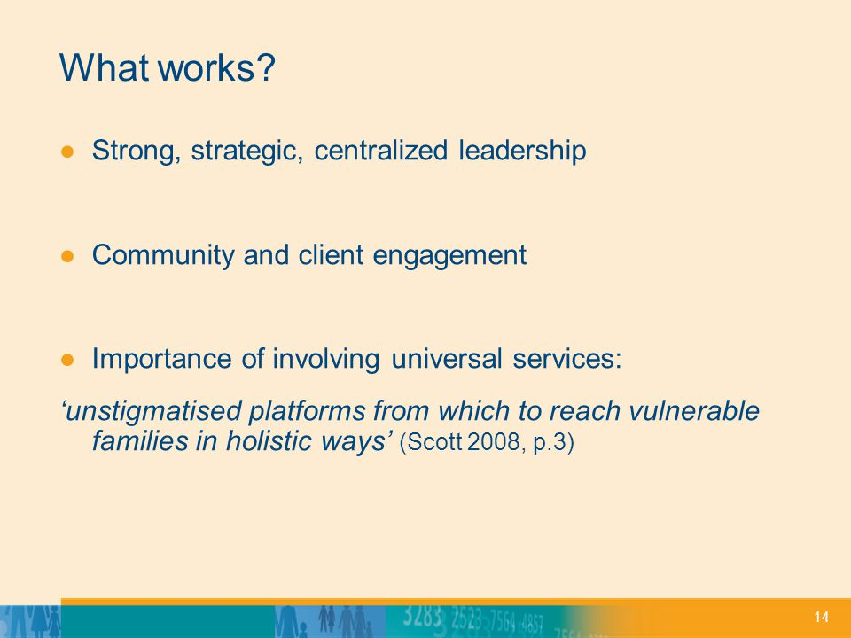 14 What works? Strong, strategic, centralized leadership Community and client engagement Importance of involving universal services: unstigmatised pla