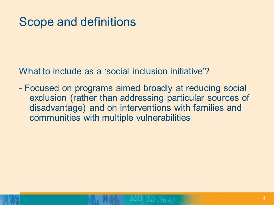 4 Scope and definitions What to include as a social inclusion initiative.