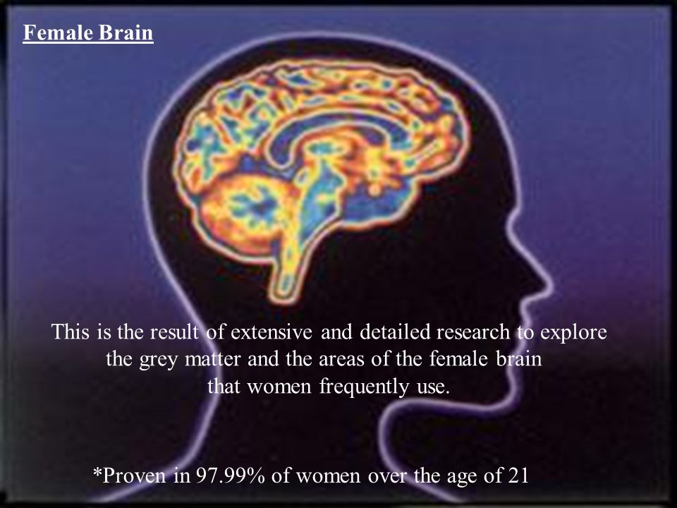 Female Brain This is the result of extensive and detailed research to explore the grey matter and the areas of the female brain that women frequently use.