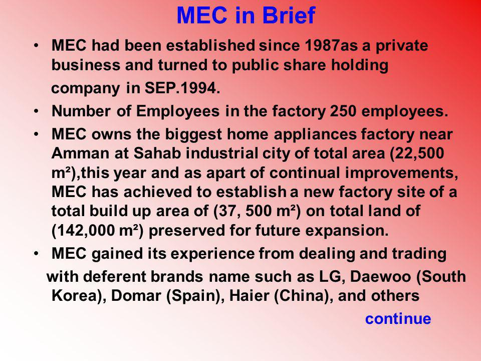 MEC in Brief MEC had been established since 1987as a private business and turned to public share holding company in SEP.1994. Number of Employees in t