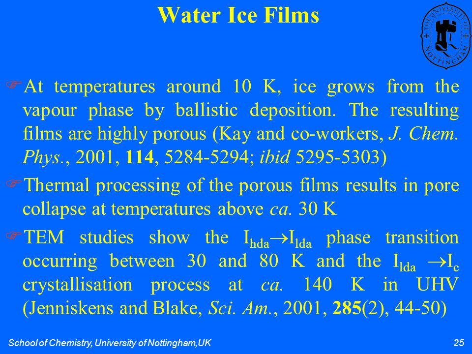 School of Chemistry, University of Nottingham,UK 25 At temperatures around 10 K, ice grows from the vapour phase by ballistic deposition.