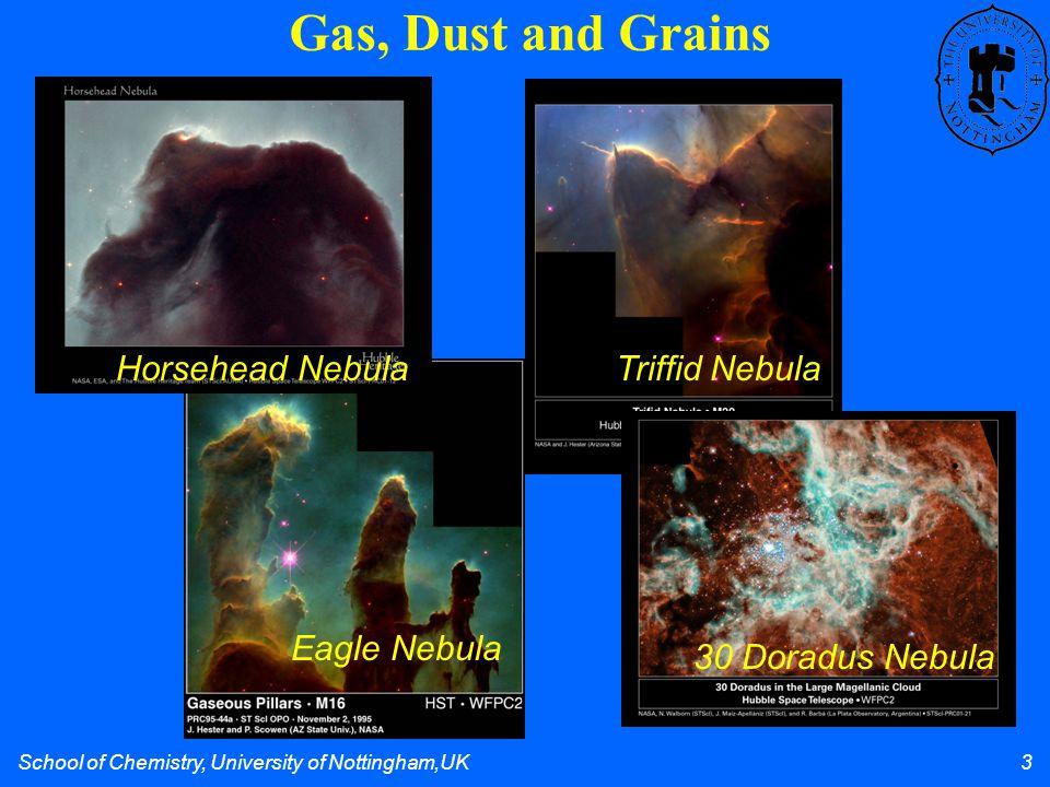 School of Chemistry, University of Nottingham,UK 3 Gas, Dust and Grains Eagle Nebula Horsehead NebulaTriffid Nebula 30 Doradus Nebula