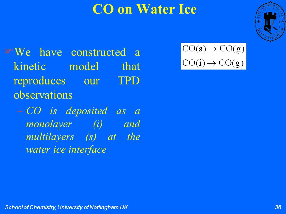 School of Chemistry, University of Nottingham,UK 36 We have constructed a kinetic model that reproduces our TPD observations –CO is deposited as a monolayer (i) and multilayers (s) at the water ice interface CO on Water Ice