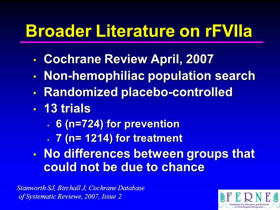 Broader Literature on rFVIIa Cochrane Review April, 2007 Cochrane Review April, 2007 Non-hemophiliac population search Non-hemophiliac population sear