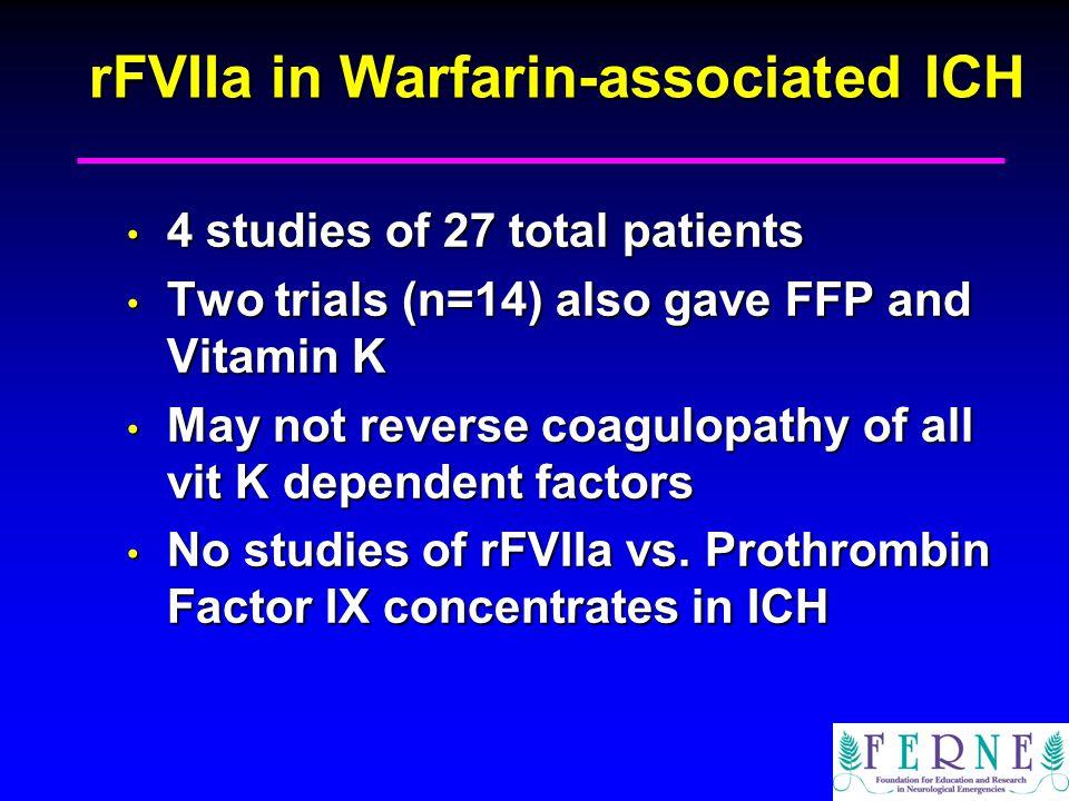 rFVIIa in Warfarin-associated ICH 4 studies of 27 total patients 4 studies of 27 total patients Two trials (n=14) also gave FFP and Vitamin K Two tria