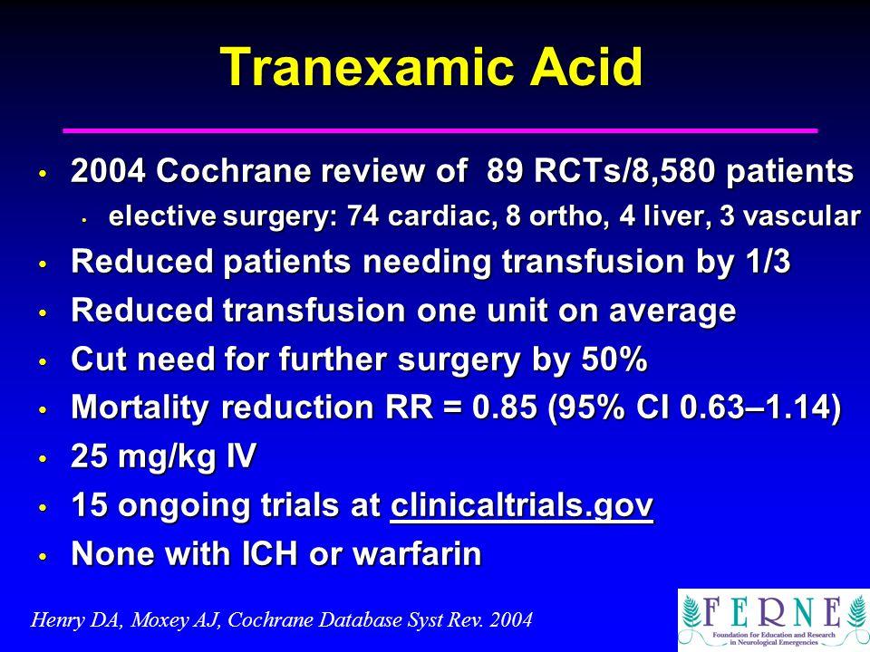Tranexamic Acid 2004 Cochrane review of 89 RCTs/8,580 patients 2004 Cochrane review of 89 RCTs/8,580 patients elective surgery: 74 cardiac, 8 ortho, 4