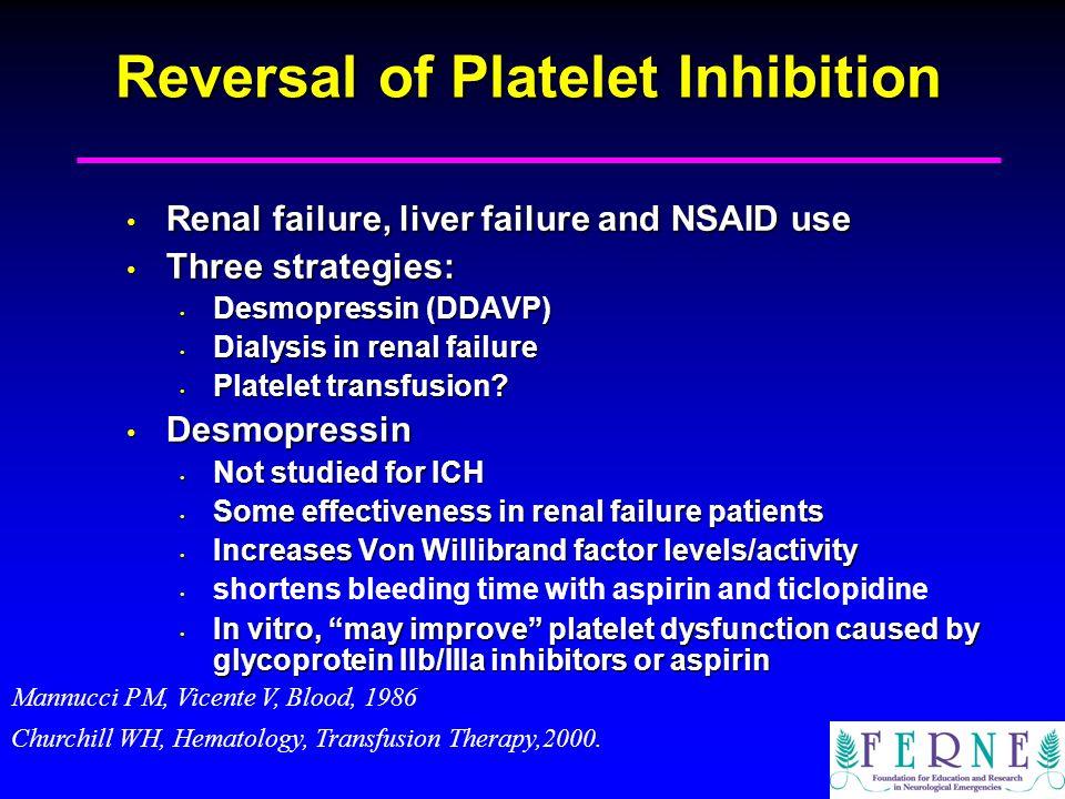 Reversal of Platelet Inhibition Renal failure, liver failure and NSAID use Renal failure, liver failure and NSAID use Three strategies: Three strategi
