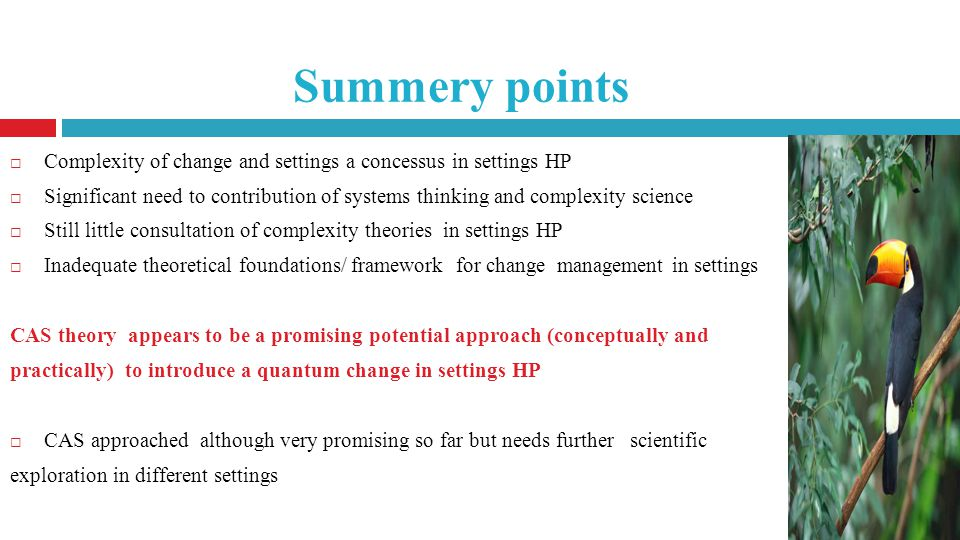 Summery points Complexity of change and settings a concessus in settings HP Significant need to contribution of systems thinking and complexity science Still little consultation of complexity theories in settings HP Inadequate theoretical foundations/ framework for change management in settings CAS theory appears to be a promising potential approach (conceptually and practically) to introduce a quantum change in settings HP CAS approached although very promising so far but needs further scientific exploration in different settings