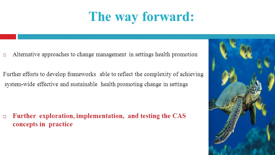 The way forward: Alternative approaches to change management in settings health promotion Further efforts to develop frameworks able to reflect the complexity of achieving system-wide effective and sustainable health promoting change in settings Further exploration, implementation, and testing the CAS concepts in practice