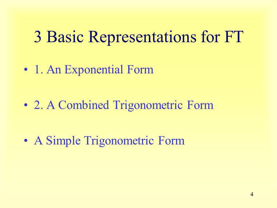 4 3 Basic Representations for FT 1. An Exponential Form 2. A Combined Trigonometric Form A Simple Trigonometric Form