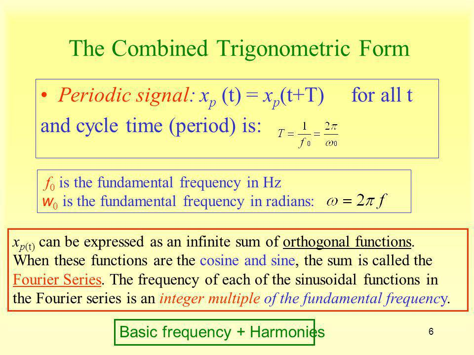 7 Fourier Series Coefficients Each individual term of the series,,is the frequency domain representation and is generally complex (frequency and phase), but the sum is real.